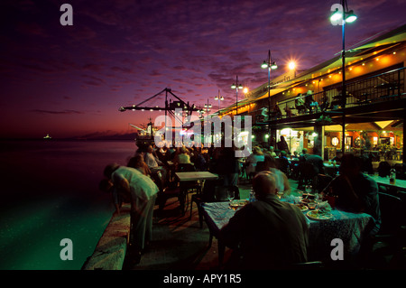Stokes Hill Wharf with street cafe in the evening, Darwin, Northern Territory, Australia - Stock Photo