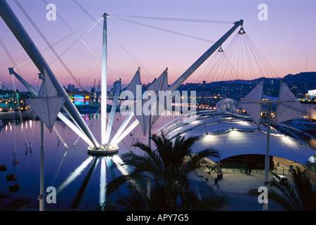 Porto Antico with Biga, Arch. Renzo Piano, Genoa, Liguria Italy - Stock Photo