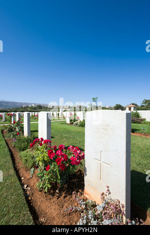 Grave of an Unknown Soldier of WWII, Allied War Cemetery, Souda Bay, near Chania, Crete, Greece - Stock Photo