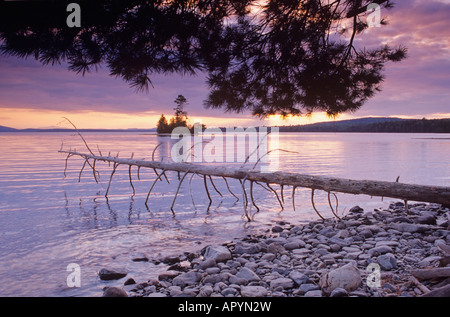 Twilight on Moosehead Lake Lily Bay State Park Maine - Stock Photo