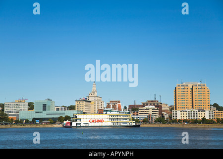 ILLINOIS Rock Island Skyline view of Davenport Iowa across Mississippi River riverboat casino Figge art museum downtown - Stock Photo