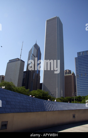 Chicago Buildings Architecture. View from BP Bridge Connecting Millennium Park to Daley Bicentennial Plaza - Stock Photo