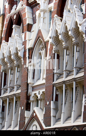 Building front of brick building in London UK - Stock Photo