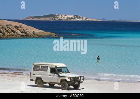 White sand beach on southern coast, Cape Le Grand NP, near Esperence, Southern Ocean, South Australia, Australia - Stock Photo