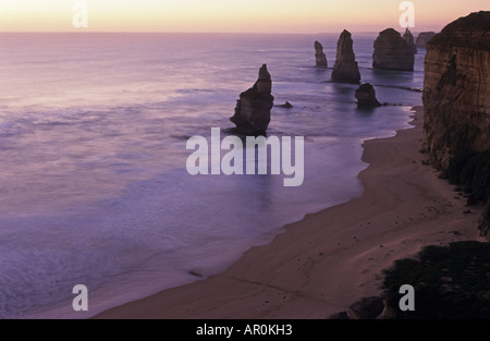 Twelve Apostles in the evening, Coastal Ward, Port Campbell National Park, Vicrotia, Australia - Stock Photo