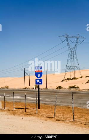 Road through Imperial Sand Dunes Recreation Area, Sand Hills, California, USA - Stock Photo