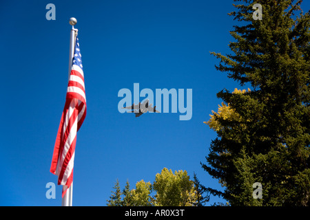 Air Force One flying over the new visitor center in Grand Teton National Park Wyoming - Stock Photo