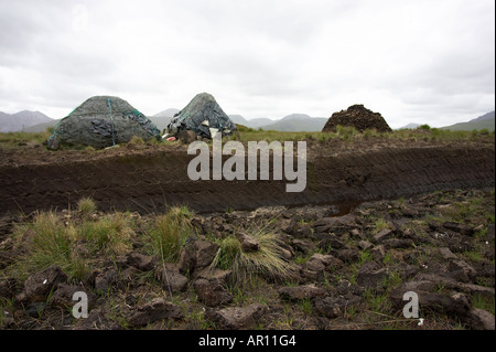 mounds of Turf peat cut next to the cut seam in a peat bog in Connemara County Galway Republic of Ireland - Stock Photo