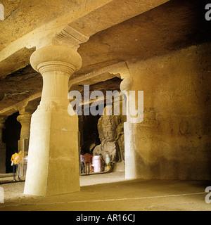 The Elephanta Caves off Mumbai (Bombay), India. The Trimurti Sadasiva,  Shiva, Vishnu,& Brahma - Stock Photo