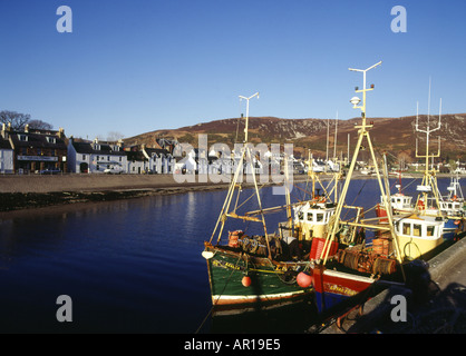 dh Loch Broom town Scotland ULLAPOOL HARBOUR ROSS CROMARTY Fishing boats berthed traditional boat harbor Britain scottish highlands