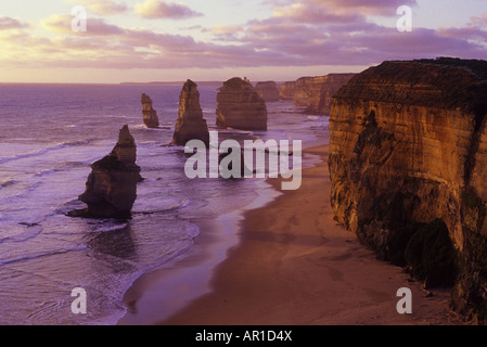 The rock formation known as the Twelve Apostles stands in the Southern Ocean. Eight of the Apostles remain standing. - Stock Photo