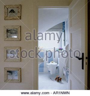 view through doorway into a bathroom - Stock Photo