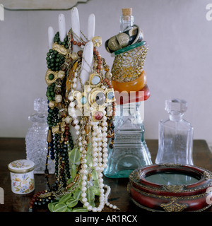 jewellery displayed on a plaster model of a hand - Stock Photo