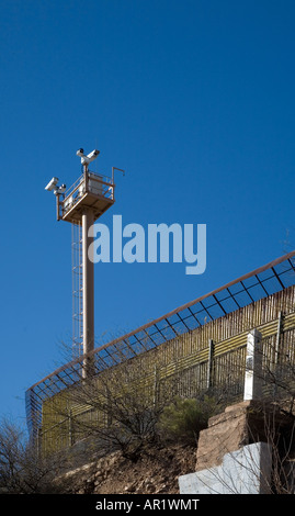 Border Fence Between United States and Mexico Stock Photo