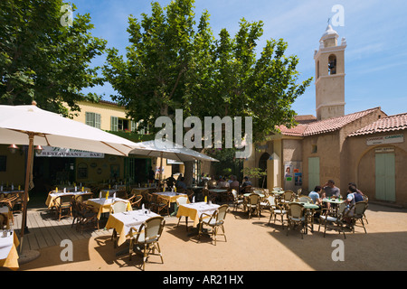 Restaurant and Town Hall in the resort centre, Algajola near Calvi, The Balagne, North Coast, Corsica, France