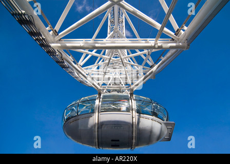 Horizontal close up of one capsule carrying passengers on a rotation of the London Eye Millennium wheel on a bright - Stock Photo