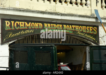 Boathouse underneath Richmond Bridge Richmond upon Thames Surrey England - Stock Photo