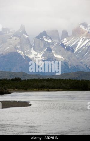 'Los Cuernos' 'The Horns' 'Torres del Paine National Park' seen from Rio Serrano Patagonia Magallanes Region Patagonia - Stock Photo