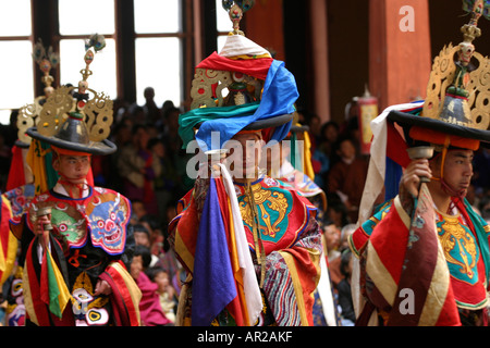 Bhutan Paro Festival Tsechu Dance of the Black Hats Shanag dancers - Stock Photo