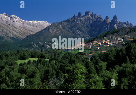 Zonza in front of Bavella and Monte Incudine, Corsica, France - Stock Photo
