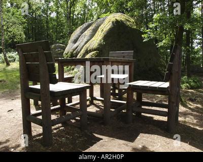 Natural Park Blockheide, Oversized Wooden Chairs And Table, Austria, Lower  Austria, Waldviertel