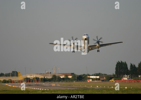 Airplane taking off with crosswind. - Stock Photo