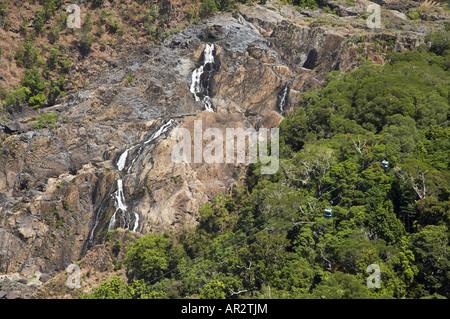 Barron Falls and Skyrail, Barron Gorge National Park, Cairns, North Queensland, Australia - aerial - Stock Photo