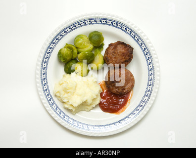 sprouts, minced pork meat and mashed potato meal - Stock Photo