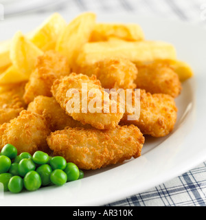 Scampi Chips & Peas 1 - Stock Photo
