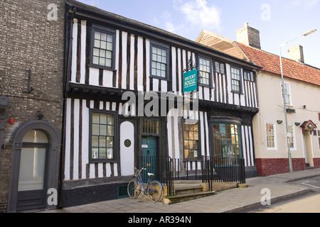 front of the Ancient House Museum in Thetford, Norfolk, UK built in the 15th century, situated in White Hart Street - Stock Photo
