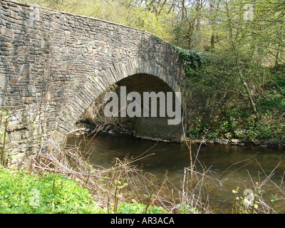Bridge at Gelligroes Mill and Candle Workshop Blackwood South Wales GB UK 2004 - Stock Photo