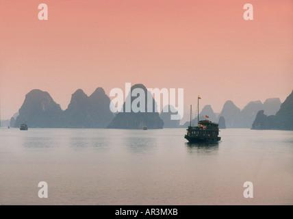 Junk in Halong Bay, Halong Bay, Vietnam - Stock Photo