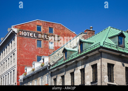 Historic architecture located on the town square of Place Jacques Cartier in Montreal Quebec - Stock Photo