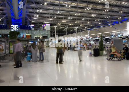 Main International terminal check in / departure hall at Bangkok Suvarnabhumi International Airport, Thailand - Stock Photo