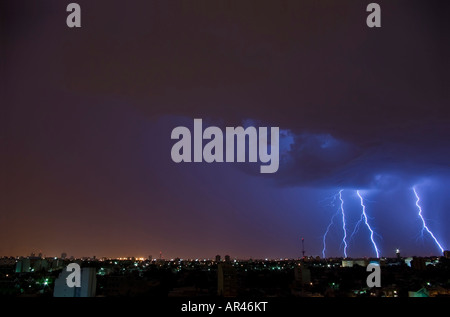 Lightning bolts in the city - Stock Photo
