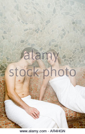 Couple in steam room - Stock Photo