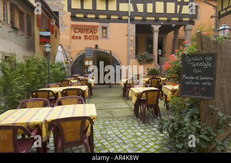 Cave of the King restaurant at Riquewihr Alsace France - Stock Photo