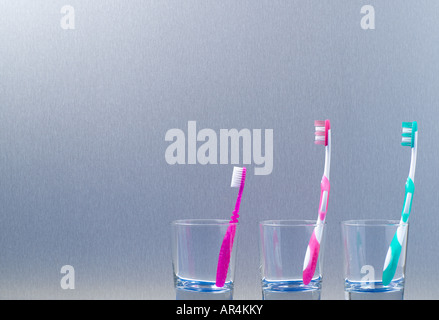 Family toothbrushes - Stock Photo