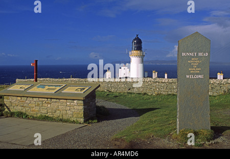 Dunnet Head Lighthouse and tourist information centre Caithness Scotland - Stock Photo