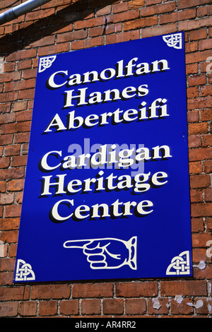 Sign Cardigan Heritage Centre Ceredigion West Wales - Stock Photo