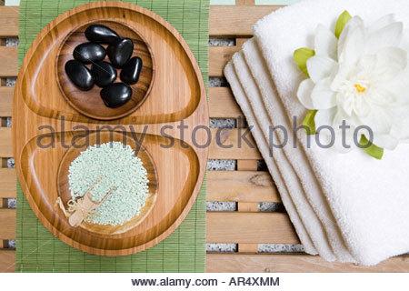 Beauty items at a health spa - Stock Photo