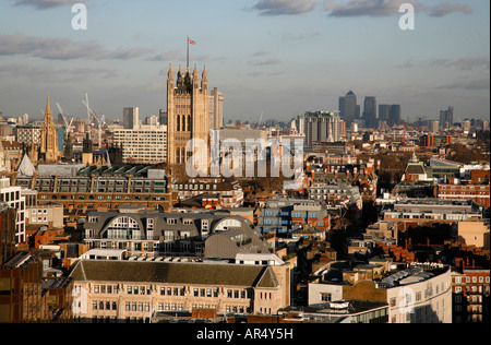 View east to Houses of Parlament and Westminster from the Campanile Tower of Westminster Cathedral, London Skyline - Stock Photo