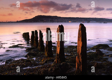 Beautiful sunrise over Portland harbour in Dorset county England UK .This photograph was taken 4th September 2006 - Stock Photo