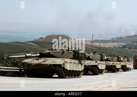 A convoy of Israeli Merkava tanks at the northern border with Lebanon near the town of Metula upper Galilee northern - Stock Photo