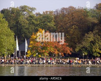 Seehaus Biergarten, beer garden in the Englischer Garten, public park / garden, Munich (Munchen / Muenchen), Bavaria - Stock Photo