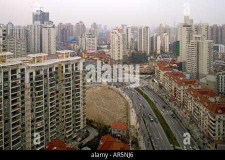 apartment towers, night, Zhabei district, Shanghai - Stock Photo