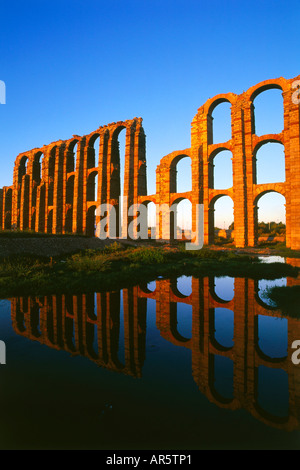 Roman Aqueduct, Acueducto de los Milagros, Merida, Province Badajoz, Extremadura, Spain - Stock Photo