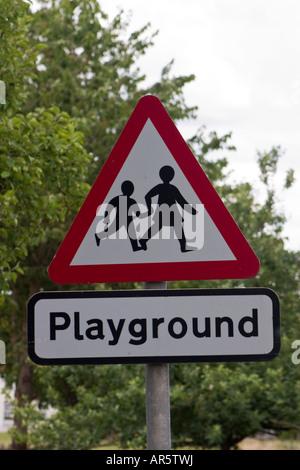 Beware children s playground road sign - Stock Photo