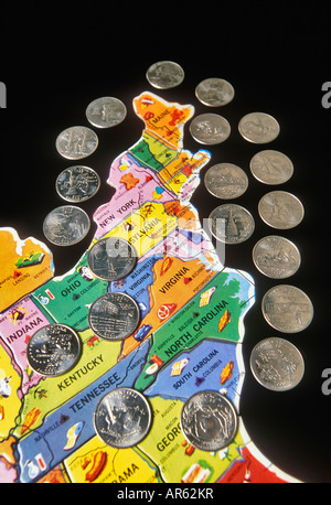 State Quarters For The Eastern United States Placed On Childrens Puzzle Map Stock Photo