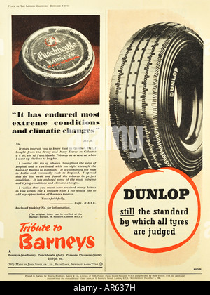 Barney's Tobacco and Dunlop Tyres Advertisements from 1946 For Editorial Use Only - Stock Photo